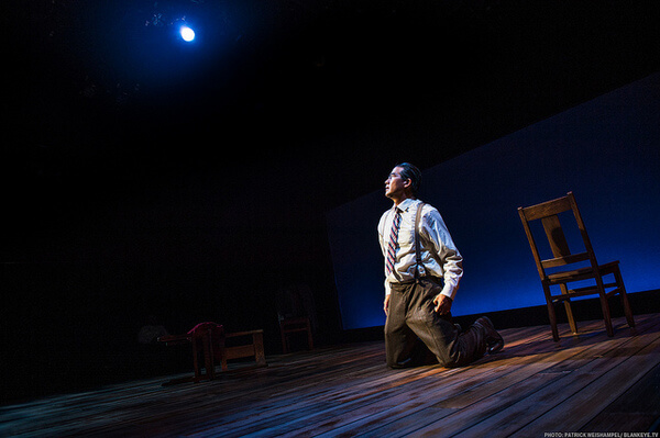 Ryun Yu in HOLD THESE TRUTHS at Portland Center Stage. (Photo by Patrick Weishempel)